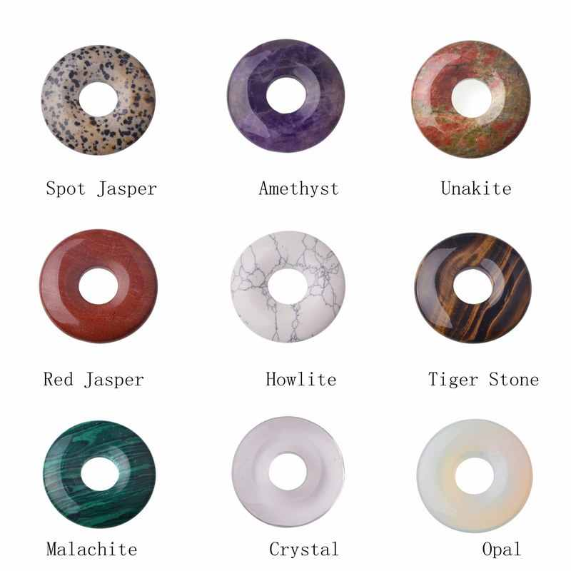 SEVENSTONE Aura Healing Pendant Necklace Pendant Men's Healing Aura Necklace Pendant Natural Stone 40MM Quartz Buckle Donut Coin