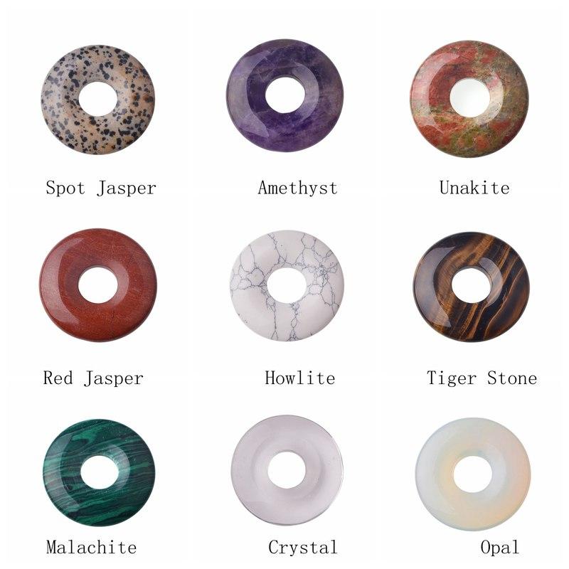SEVENSTONE Aura Healing Pendant Necklace Pendant Men's Healing Aura Necklace Pendant Natural Stone 40MM Quartz Buckle Donut Coin