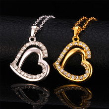 Kpop Heart Necklaces Pendants For Women New yellow Gold/Silver Color High Quality Austrian Rhinestone Pendant Chain P929