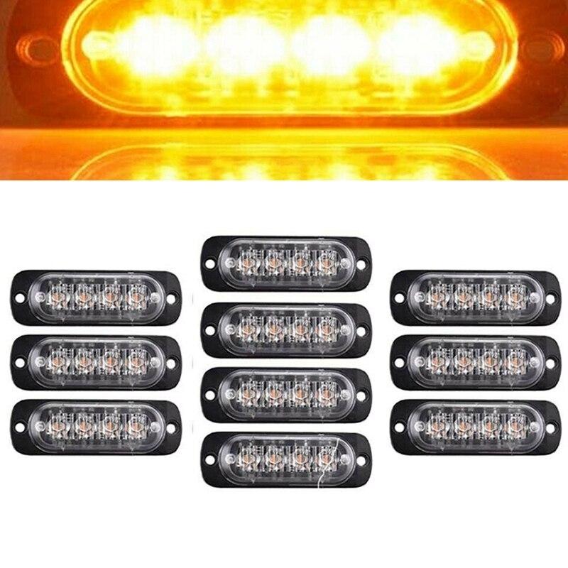 10Pcs Amber Yellow Car Truck 4 Led Emergency Flash Warning Strobe Light Kit Bar