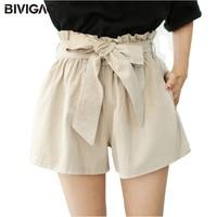 BIVIGAOS 2017 Summer New Womens Cotton Linen Shorts Bow Belt Wide Leg Short Casual Loose Short