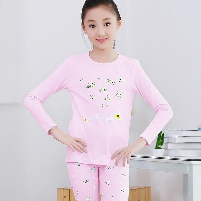 New kids Cotton Long Johns suit girls underwear Big Children Pajamas Set  2pcs Long Sleeve Sleepwear Sets Growing Girls Pyjamas 6e5925cc9