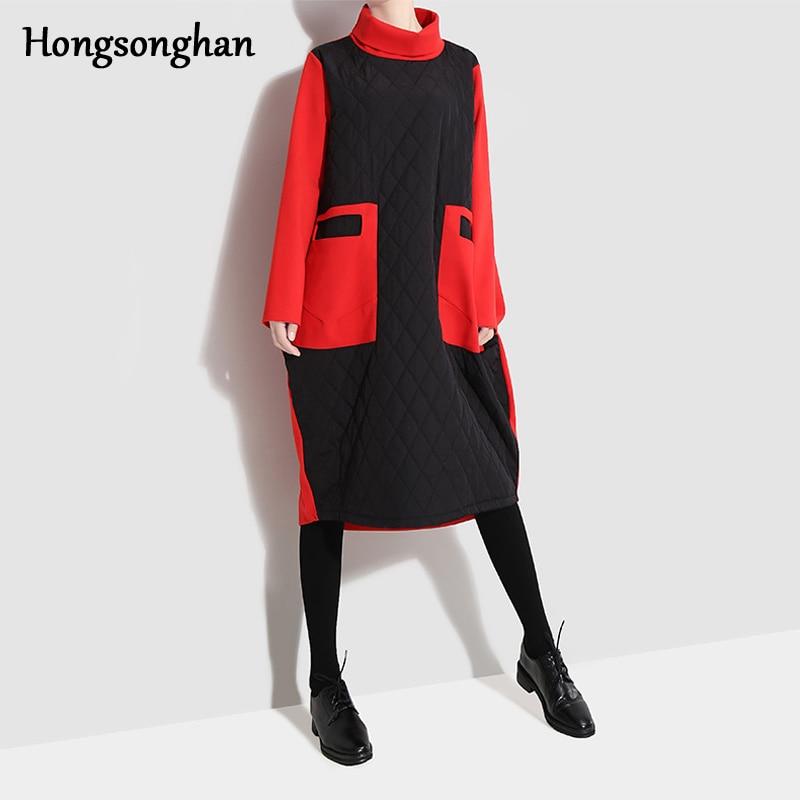 Noir Hiver Couture 2019 Marée Losange Japonais Robe Femmes Chaud Col Roulé Automne Hongsonghan Deux Poches Coton Style PpUaqcqT