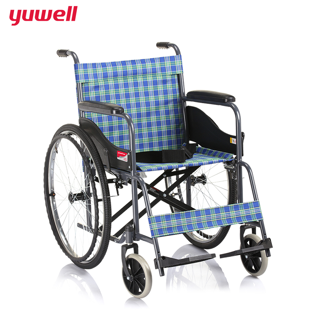 yuwell Diving Steel Tube Basic Type Wheelchair Handicapped Folding Back Portable Wheelchair Home Health Medical Equipment H050 цены онлайн