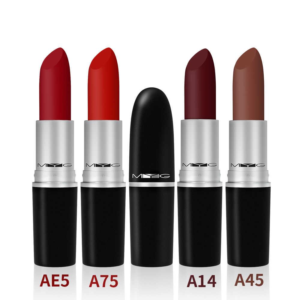 Nuevo lápiz labial mate de alta calidad tubo de metal bala lápiz labial impermeable de larga duración lápiz labial rojo maquillaje labios cosméticos