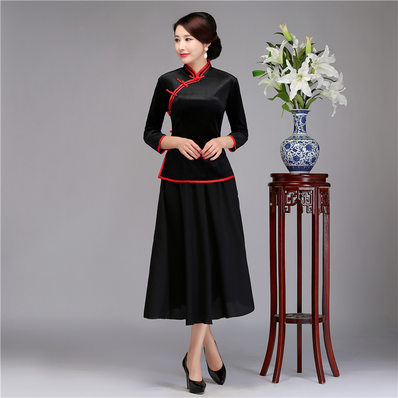 06e7abd03 Negro Vintage chino blusa falda conjuntos mujeres camisa Tops mandarín  Collar 2 piezas ropa verano ...