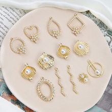 diy homemade jewelry accessories korean simple alloy matte pearl love drops spider shape earring  for women materials fashion
