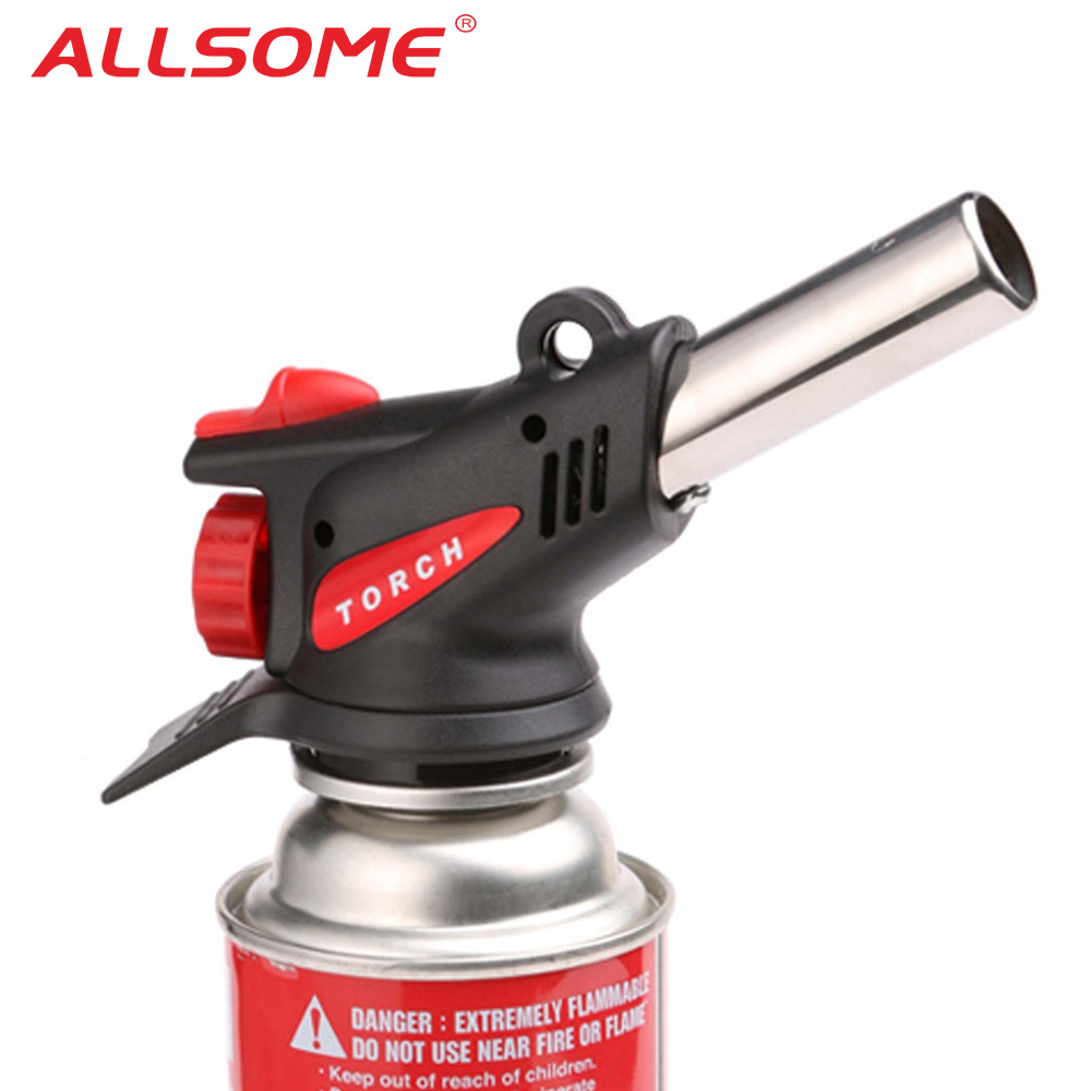 ALLSOME 360 Degree Gas Torch Flamethrower Burner Butane Gas Blow Outdoor Camping BBQ Baking Meat Tool HT1753