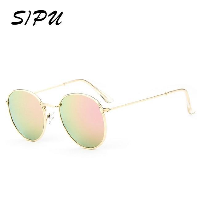 31c9a8c8d SIPU Retro Rodada Óculos De Sol Das Mulheres Dos Homens Marca Designer  Óculos de Sol para