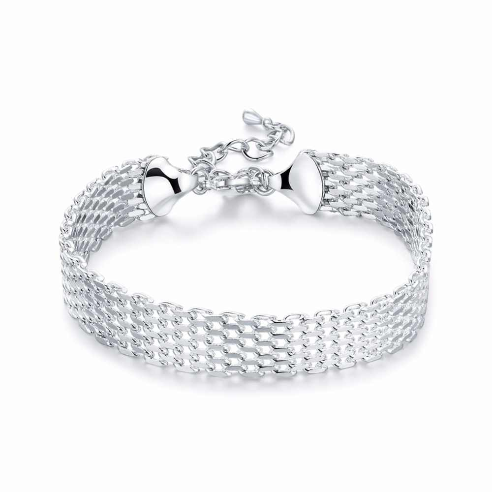 Wide soft bracelet 2017 new 925 stamped silver plated fashion jewelry de Prata pulseiras 18+5cm safe chains bangles gift pouches