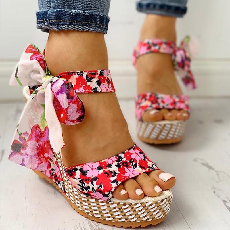 Women Summer Wedge Sandals Female Floral Bowknot Platform Bohemia High Heel Sandals Fashion Ankle Strap Open Toe Ladies Shoes 2