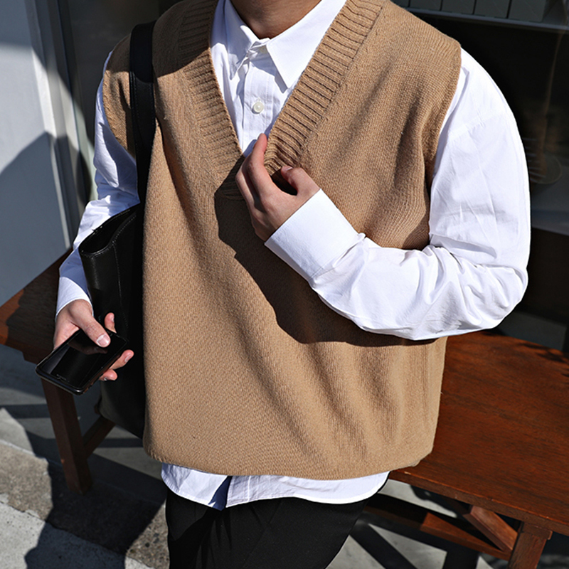 2018 Winter Men's Slim Fit Sleeveless Cashmere Knitting Woolen Pullover Casual Sweater Waistcoat Vest V-neck Sleeve Single Knit