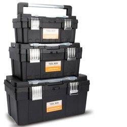 Caja de herramientas de plástico portátil para el hogar, caja de piezas de herramientas multifunción, caja de herramientas de reparación anti-caída, caja de almacenamiento grande para el coche