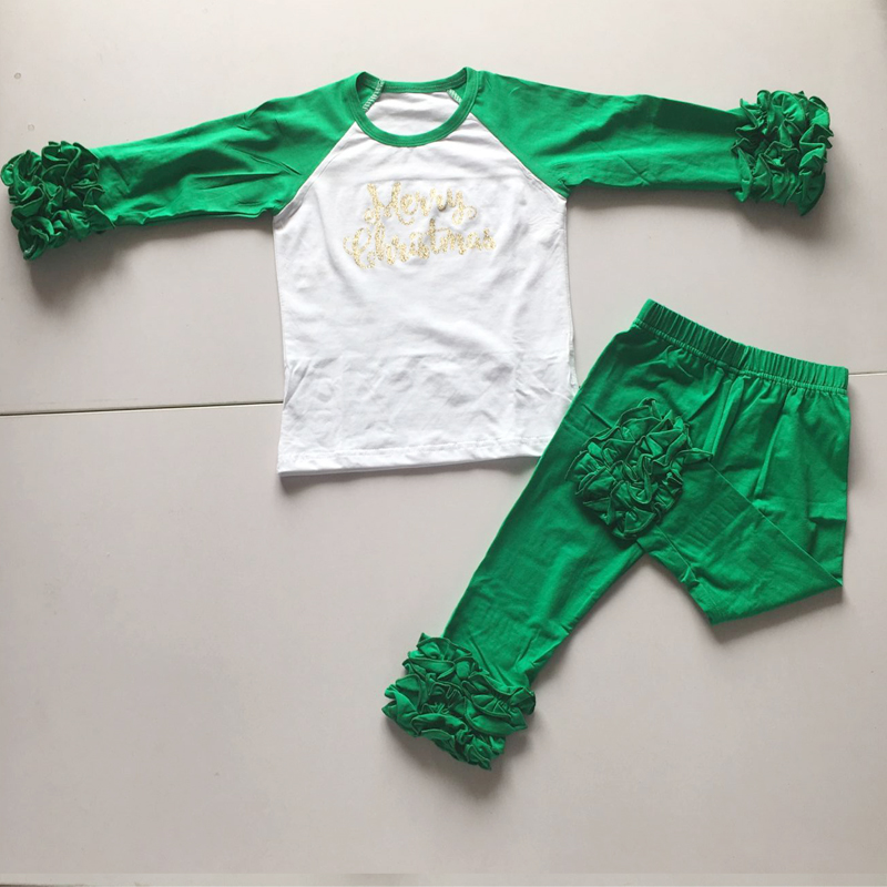 girl X' mas outfits wholesale ruffle icing t shirts ...