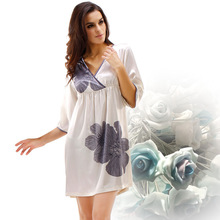 Free Shipping 2016Ms Emulation Silk Sleepshirts Leisurewear V Neck Printing Nightgown With Short Sleeves N 8061