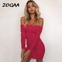 Женское облегающее платье zogaa эластичное с открытыми плечами