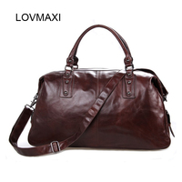 LOVMAXI 100% Natural cow Leather Male Travel bags Large capacity genuine leather men bags large luggage bags big travel handbags