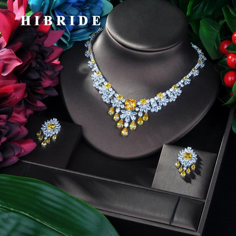 HIBRIDE brillant fleur Bijoux ensemble 2019 AAA cubique zircone Pave femmes mariage Bijoux ensembles nuptiale partie accessoire Bijoux N-95