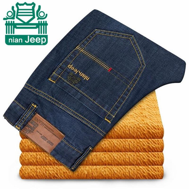 NIAN AFS JEEP 2015 Men's Cashmere Inside Winter Jeans,Original Brand Man's warmly Cotton Denim Denim Trousers,Plus Size Jeans