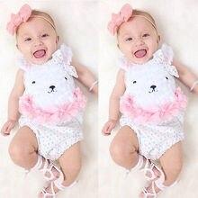 Summer Newborn Baby Girl Clothes Cute Bear Bodysuit Jumpsuit Playsuit Outfits Set One-pieces Clothes Wholesale