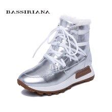 BASSIRIANA ใหม่ฤดูหนาวสบายๆหนา soles, สุภาพสตรีแฟชั่นหนังธรรมชาติขนสัตว์ธรรมชาติรองเท้าแบน sole