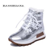 BASSIRIANA/новые зимние ботинки с толстая подошва, женские модные из натуральной кожи натурального меха теплая обувь с плоской подошвой