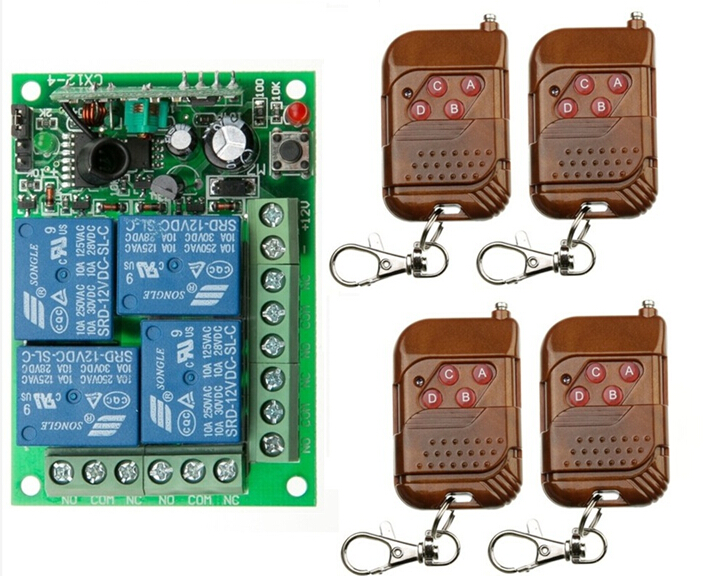 Free shipping 12V 4CH RF Wireless Remote Control Switch System 4 transmitter and 1 receiver outdoor remote control sockets 12v 6ch rf wireless remote control switch system transmitter