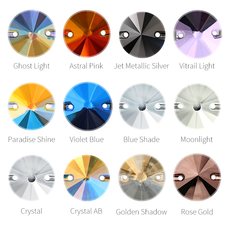 Charming Rivoli Sew on Rhinestone Crystal AB K9 Glass Flatback Multicolor Sewing Stones for Clothes Garment DIY Handmade Bags in Rhinestones from Home Garden