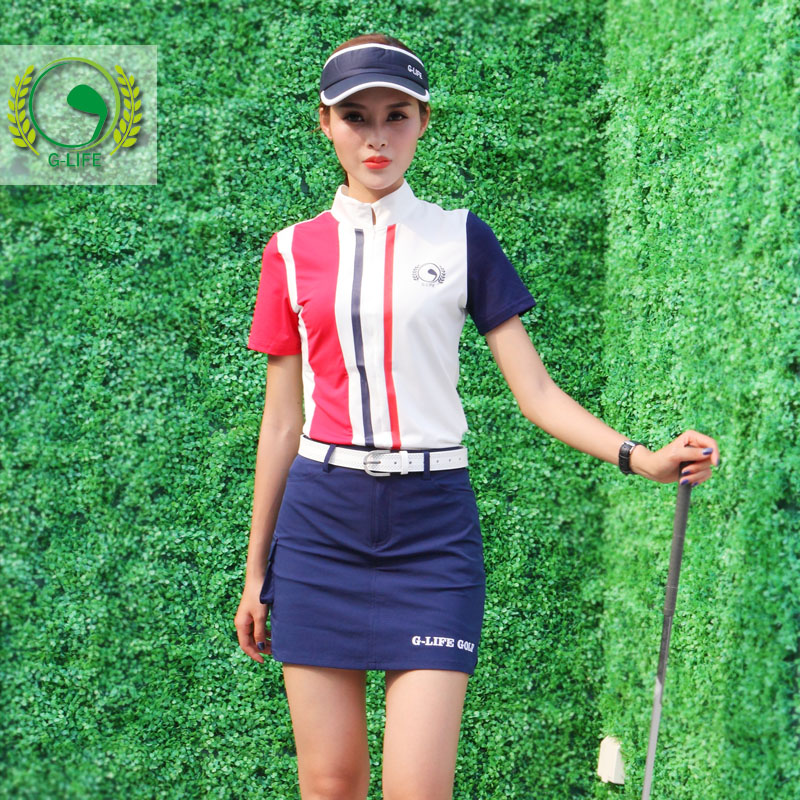G-life women british style golf short-sleeve shirt top golf apparel sports clothing female set short skirts culottes summer new simulation mini golf course display toy set with golf club ball flag