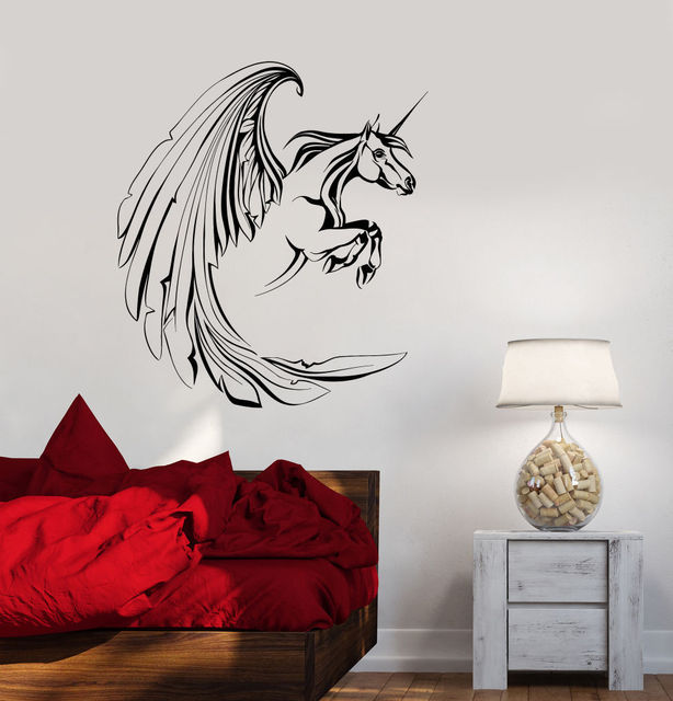 big wings unicorn wall stickers home decor living room bedroom vinyl