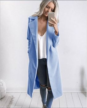 2018 new fashion Women Winter Warm Wool Lapel long Trench Coat female stylish solid Long Slim Overcoats Outwears clothes 1