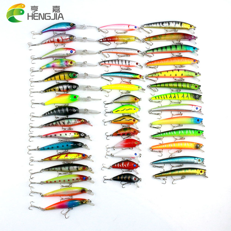 43pcs HENGJIA Mixed Fishing Lure Set isca artificial fishing kit Minnow Fishing Wobblers 43 colors Crankbait Hard Fishing Tackle amlucas minnow fishing lure 110mm 9 5g crankbait wobblers artificial hard baits pesca carp fishing tackle peche we266