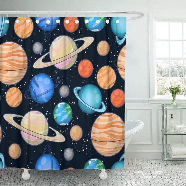 Fabric Shower Curtain With Hooks Solar System Planets Mercury Venus Earth Mars Jupiter Saturn Uranus Neptune Pluto