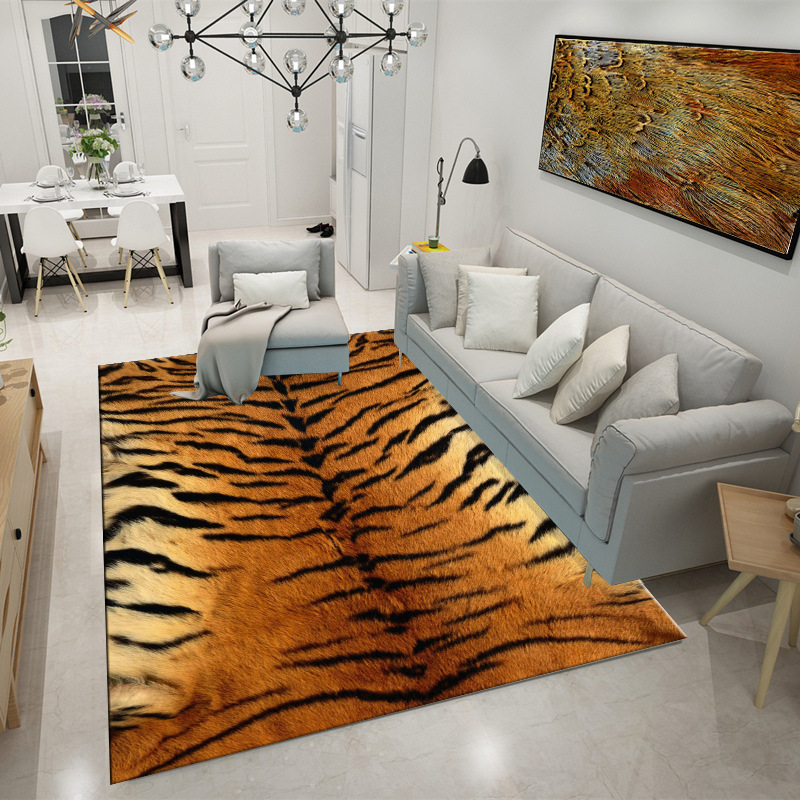 Creative Modern 3D Leopard/Zebra/Cow/Crocodile/Tiger Striped Fur Like Print Door/Chair Mat Living Room Bedroom Area Rug Carpet