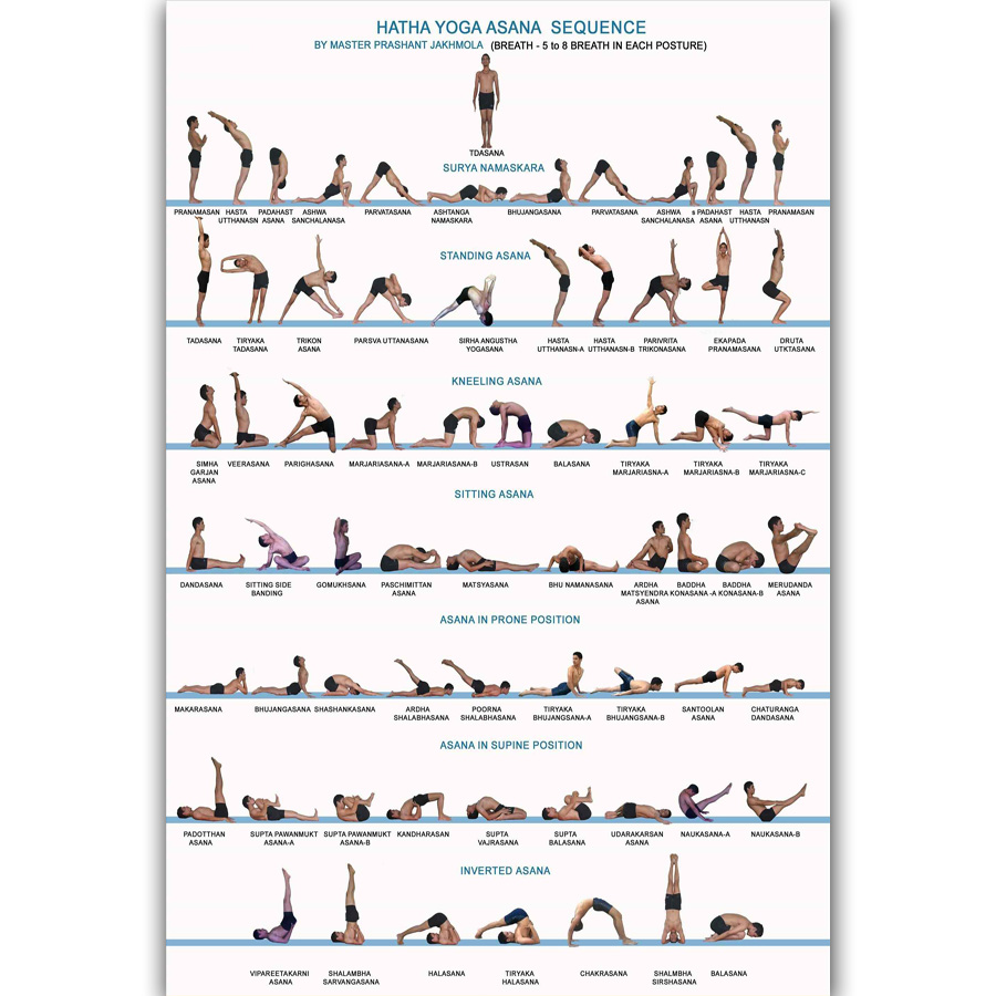 Art Poster Yoga Exercise Bodybuilding Chart 40x40 40x40inch Wall