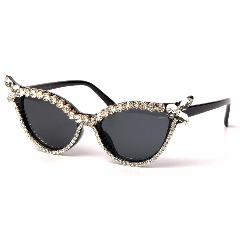 Vintage Sunglasses Women Cat Eye Luxury Brand Designer Sun Glasses Rhinestone Retro Small ladies Sunglasses Eyewear oculos