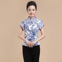 Summer New Chinese Style Women Linen Tang Suit Tops Blouse Vintage Traditional Chinese Shirt M L