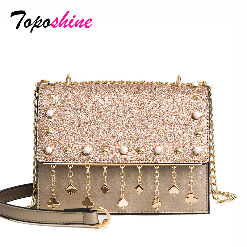 Korean Version of the New Fashion Sequins Hit Color Small Square Package Wild Casual Temperament Chain Shoulder Messenger Bag
