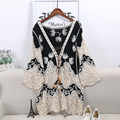 Fashion Women's Lace-Up Blouses Palm Embroidery Embroidery Ethnic Lace Blouse Tops Femme Autumn Wear V-neck Elegant Shirt&Blouse