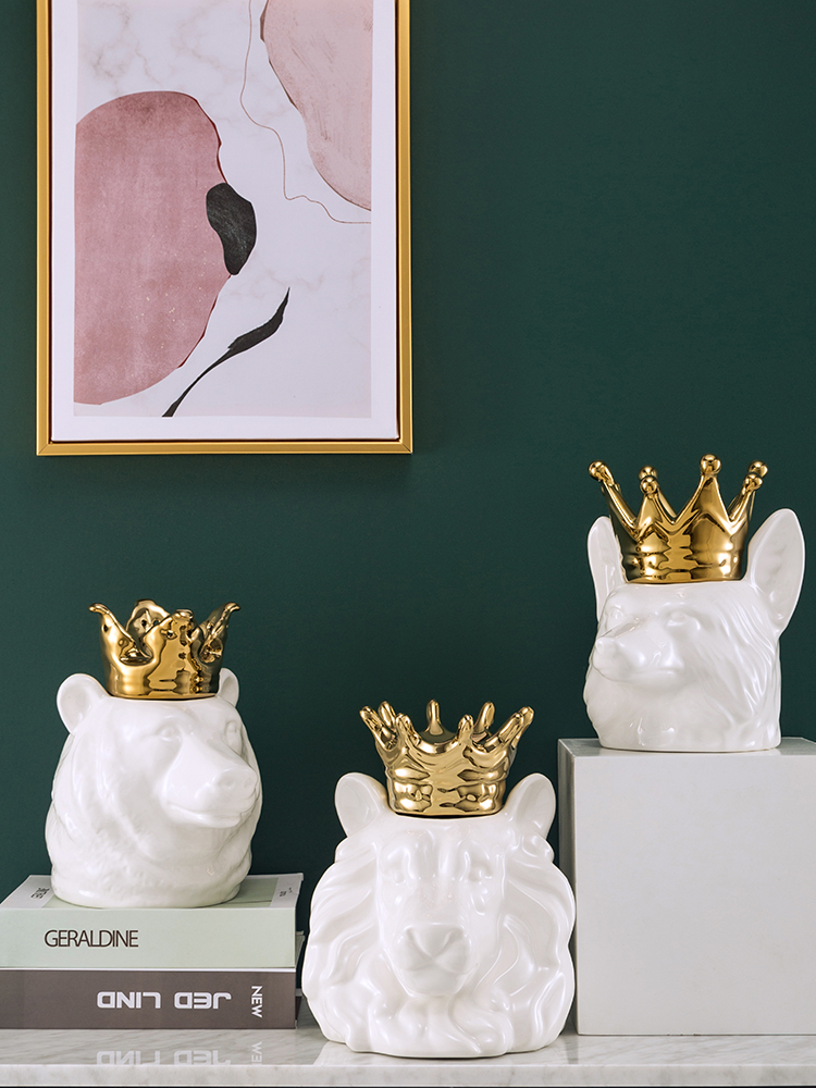 Золотой голова льва в короне Керамика свинья копилка украшения свет Роскошные Ins Гостиная крыльцо украшения подарки