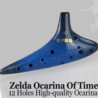 12 Holes Zelda Ocarina Of Time Blue Glaze Ceramic Flute Professional Chinese Traditional Musical Instrument Flauta Submarine SG