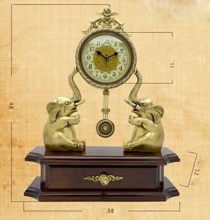 Copper Elephant Clock Decorative Table Desktop Clocks Living Room Bedroom Vintage Alarm Clock Ornaments Table Desktop Watches