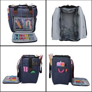 Image 3 - Saco de tricô fio portátil tote saco de armazenamento para lã crochê ganchos agulhas de tricô costura organizador suprimentos diy crochê saco