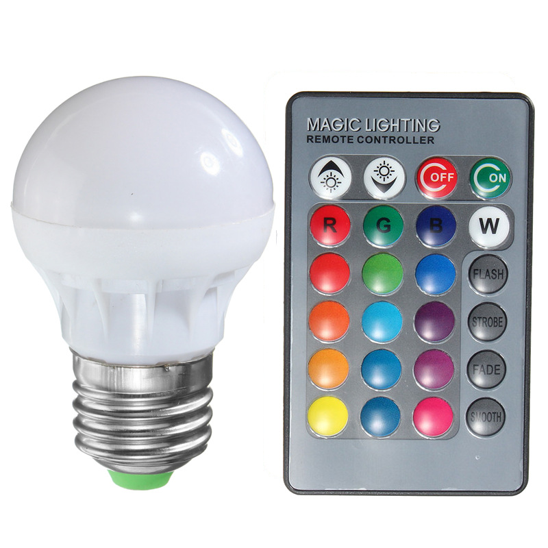 RGB LED Light Bulb E27 B22 3W 16 Colors Changing Magic Lamp Spotlight Bulb With IR Remote Control Holiday Lighting Decor 85-265V