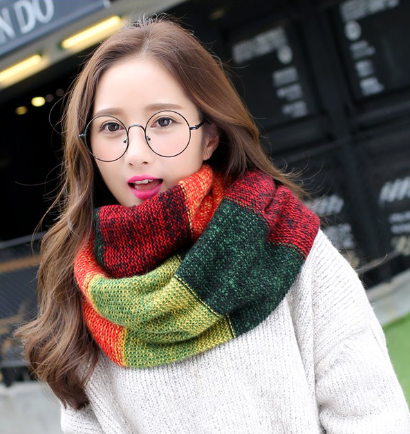Fashion Brand New Women Mixed Color Striped Ring Warm Scarves Knitted Wool Neck Cowl Spring Autumn Cozy Loop Scarf For Ladies