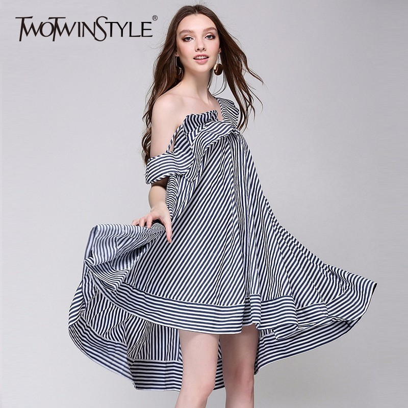 TWOTWINSTYLE Striped Dress For Women Off Shoulder Ruffles Backless Large Size Midi Spaghetti Strap Dresses Female