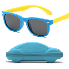 Rubber frame Polarized Kids Sunglasses with Case Boys Girls Silicone Safety Sun Glasses Gift For Children Baby UV400 Gafas(China)