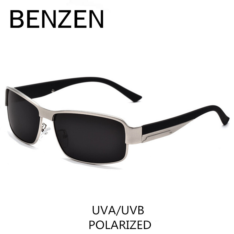 BENZEN Polarized Solglasögon Män Klassiska Alloy Male Sun Glasses Körglasögon Nyanser Med Case 9003
