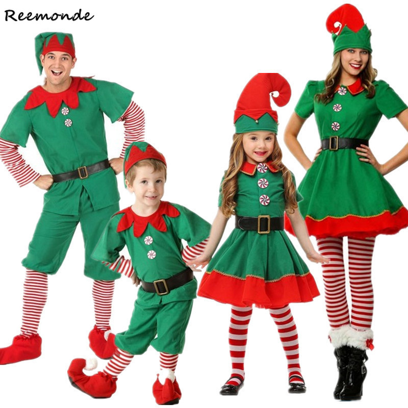 Christmas Kids Cosplay Costumes Elf Parent-Child Red Green Jacket Dresses Hats Belt For Adults Women Men Halloween Party Clothes
