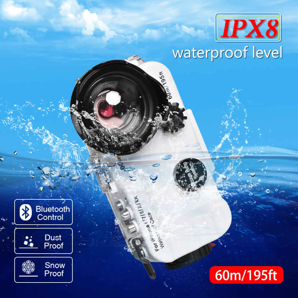 Diving Phone Housing for iPhone Xs Max 60m/195ft IPX8 Professional Underwater Waterproof Swimming Phone Case Photo Camera Lens